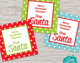 Personalize and print From Santa tags | Christmas tag