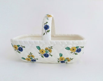 Vintage Trinket Dish Ceramic  Basket Collectible Elizabeth Arden 1970s Jewelry Holder
