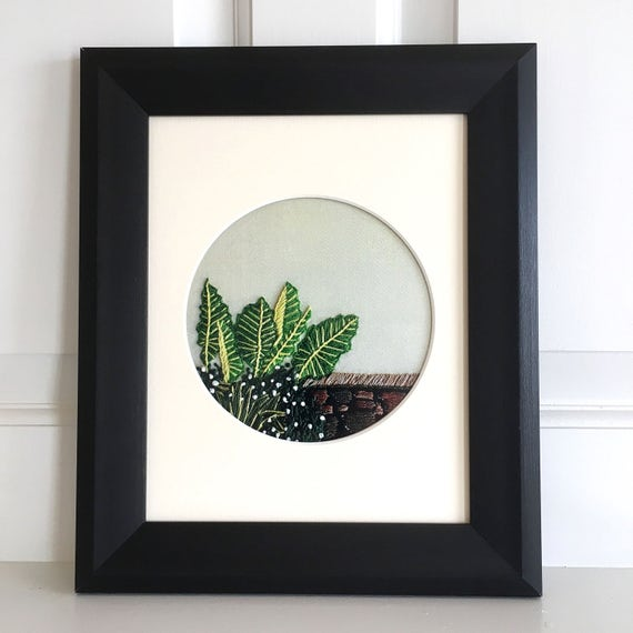 Botanical Leaf Art, Fine Art Print, Print of Hand Embroidery, Framed Botanical Art, Gallery Wall Art, Succulent Print, Gift for Him, Decor