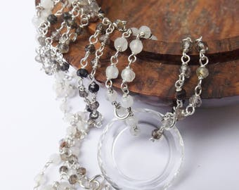Crystal 'O' pendant, vintage crystal, moonstone necklace, tourmalinated quartz necklace, faceted crystal, sterling silver