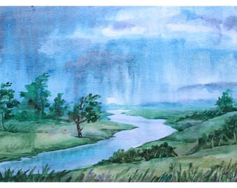 1+1=3! Print Watercolor painting, watercolor landscape painting, Original art, Summer landscape, Rain