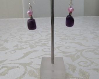 Amethyst and pink freshwater pearl earrings