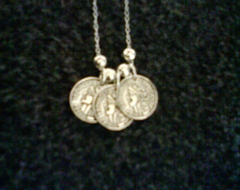 LoliRosa Silver Plated Coin & Bead Necklace