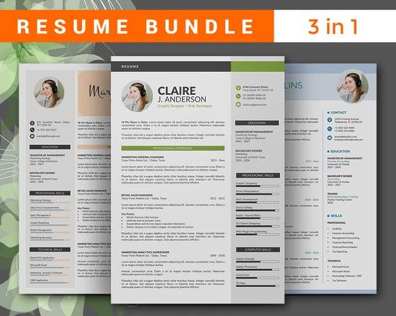 modern resume template bundle cv template bundle instant