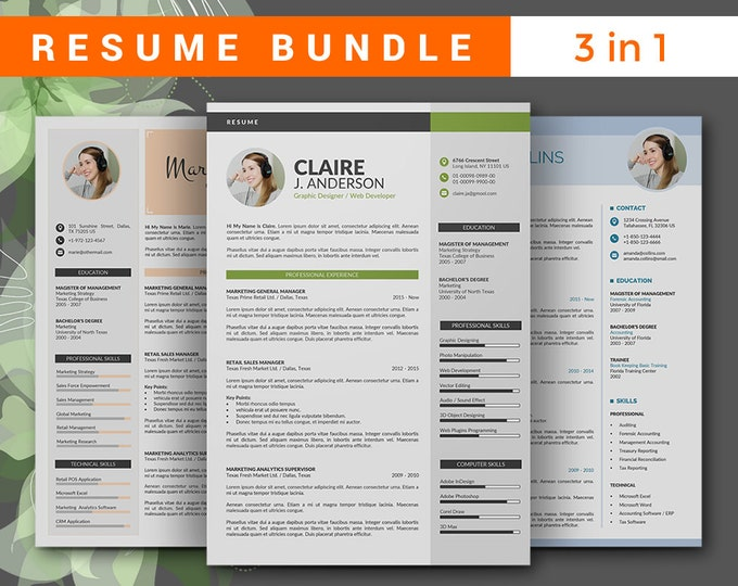 Resume Template Professional Bundle. 3 in 1 Creative Word CV Template with Cover Letter, 3 Pages Modern Curriculum Vitae