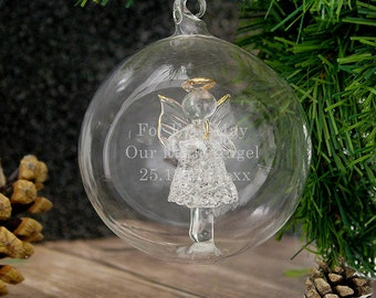 Personalised Glass Christmas Baubles, Engraved Ornaments, Luxury Bauble, Stunning Christmas Tree Decoration, Angel, Reindeer, Tree Designs
