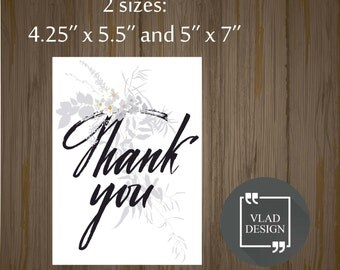 Printable Thank you card Wedding card Gift card Printable cards Instant download DIY Thanks card Favor card