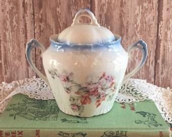 Vintage Sugar Bowl Floral Porcelain