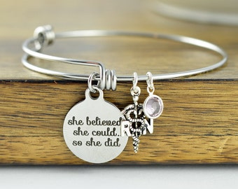 She Believed She Could So She Did, Nurse Gift, Gift for Nurse, Caduceus Jewelry, Nursing Gift, RN gift, Nursing Student, Nurse Appreciation