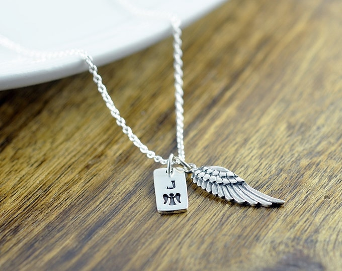Personalized Memorial Gift Idea Sympathy Gift - Angel Wing Necklace - Remembrance Jewelry - Personalized Necklace - Initial Necklace
