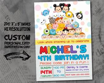 "Tsum Tsum  Birthday Invitation card , size 5""x7"" inches Birthday Party, Invitation card"