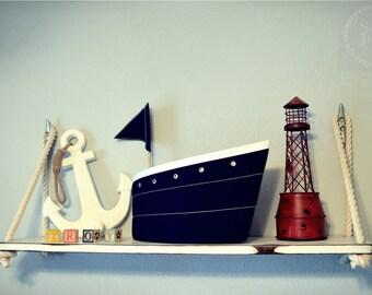 Nautical Rope Shelf with Boat Cleat Hangers l Nautical Shelf l Baby Nursery Shelf l Wood Storage Shelf