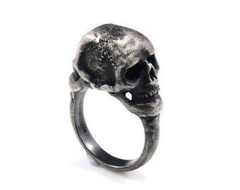 """Two Skulls ring - """"Meld"""" ring - Skull Commitment Engagement Wedding Ring in Oxidized Silver"""
