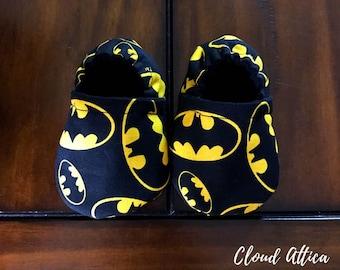 Soft Sole Baby Shoes Black/Yellow Batman