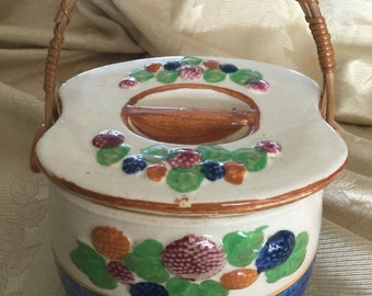 Biscuit Jar - a cookie jar from the 1960s, made in Japan, fun mid century colorful fruit basket