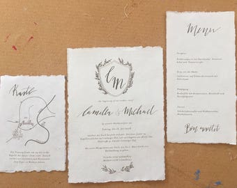Invitation to the wedding, handmade paper, handwritten calligraphy
