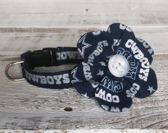 Dallas Cowboys Collar and Flower Set, Fabric Collar, Custom Dog Collar, Flower Collar, Collar and Bow Tie Set