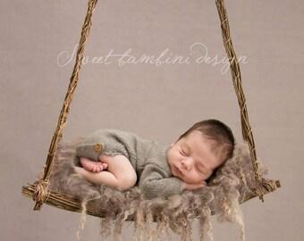 Newborn Digital Background - Natural Willow Swing