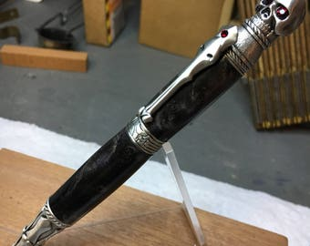 Antique Pewter Skull Twist Pen with Black and Gray Dyed Maple Burl Body