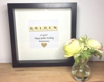 Scrabble wall art, Scrabble picture,  Wedding Anniversary, Golden Wedding Anniversary,  50th Wedding