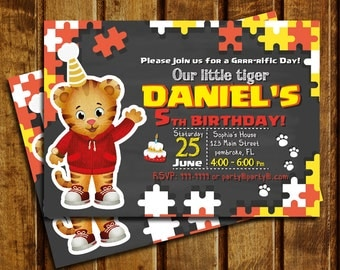 Daniel Tiger Invitation, Daniel Tiger Chalkboard Birthday, Daniel Tiger Invite, Daniel Tiger Thank You Card | MDA_01