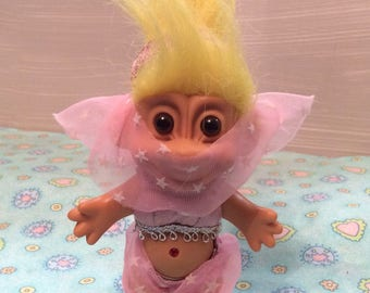 Vintage Russ Troll Belly Dancer ~ 1980's Troll w/ Yellow Hair ~ Genie Troll
