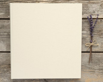 Plain Blank DIY Photograph Album. Ivory DIY Wedding Photograph Album with Box. High Quality Traditional Style Plain Photo Album.