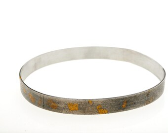 Sterling Silver bangle with 24 karat gold