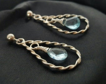 Beautiful Sky Blue Topaz Teardrop Earrings with Sterling Silver