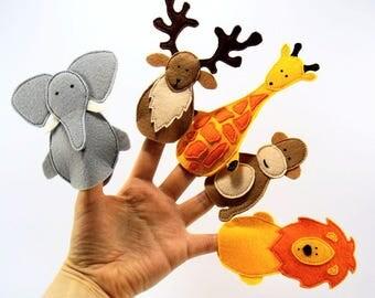 Animal felt finger puppets, felt theater