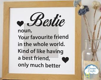Bestie best friend vinyl frame decal - vinyl decal sticker - box frame stickers - gift - Reverse or Standard