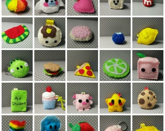 SMALL PLUSHIES HANDMADE Mamegoma Pancakes Cookie Pizza Tofu Angry Birds Pig Keychains Plush