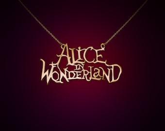 Alice in wonderland title, alice in wonderland jewelry, alice in wonderland pendant, alice, wonderland, movies, gold alice, legend, fantasy