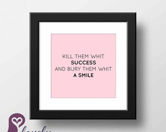 Success & Smile Poster | Typography | Quote | Inspirational | Wall Art | Wall Decor | Home Decor | Prints | Poster | Digital Paper