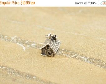 On Sale Open Window 3D House Home Charm / Pendant Sterling Silver 2.3g