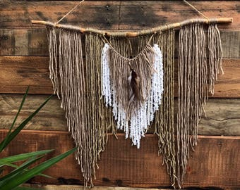 Large branch yarn wall hanging