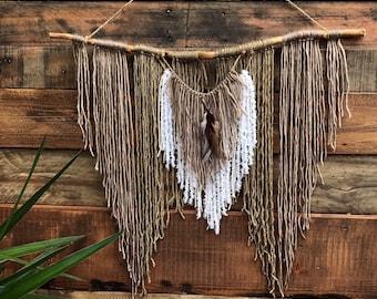 Large branch yarn wall hanging