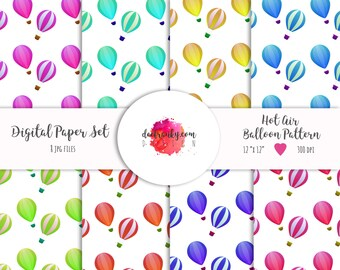 A25% OFF  Balloon Print - Digital Paper Set – Air Balloon Pattern – Rainbow Color Art – Balloon Scrapbook Paper – Instant Download