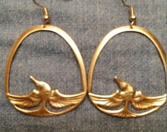 Vintage Stamped brass bird earrings