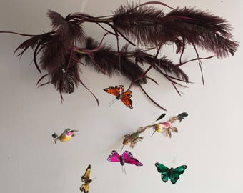 Mobile, Butterfly,Hummingbird,Woodland,Feathers,Baby Mobile,Woodland Nursery Decor,Insured Shipping,Canopy Topper,Whimsical,Crib mobile