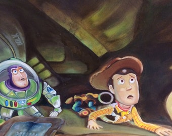 Oil on paper .- Toy Story 3 tribute