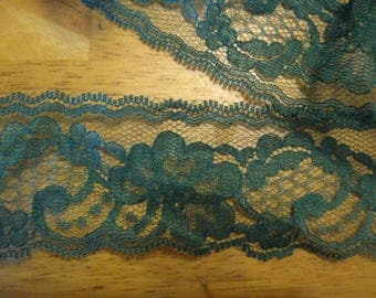 free ship!  Dark Green Lace Trim  5 yards 3 inches wide
