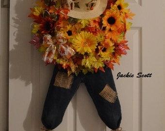 Scarecrow Wreath, Fall Wreath, Fall Leaves, Autumn Wreath, Scarecrow