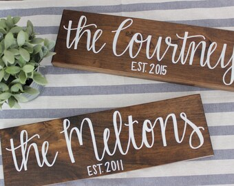 Last Name Wood Sign | Custom Family Sign | Personalized Wood Sign | Home Decor | Housewarming Gift | Wedding Gift | 18x5.5 |LittleLovelyNest