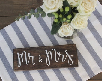 Mr and Mrs | Wedding Sign | Sweetheart Table Decor | Wedding Decor | Wood Sign | Hand Lettered