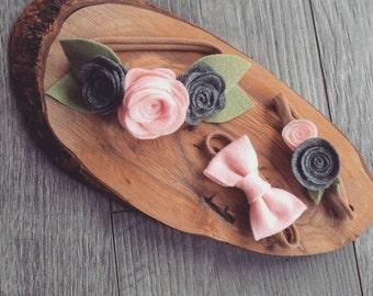 Trio of nylon headbands, custom colours, baby girl hairband, toddler girl, light pink, dark grey, felt flowers, felt rose, felt small bow