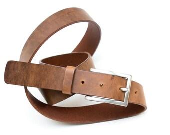 Leather belt - Brown - 3 cm - length 95