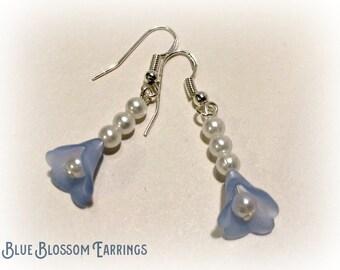 Blue Flower Earrings -  Free UK Delivery