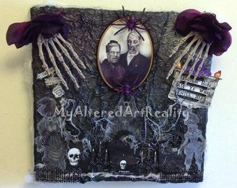 Altered Art Canvas Family Plot Gothic 12 x 12 3D Mixed Media