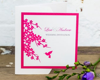 Hummingbird Pocketfold Wedding Invitation